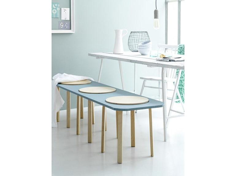 Ikea panche in legno. tre sgabelli frosta sono trasformati in una