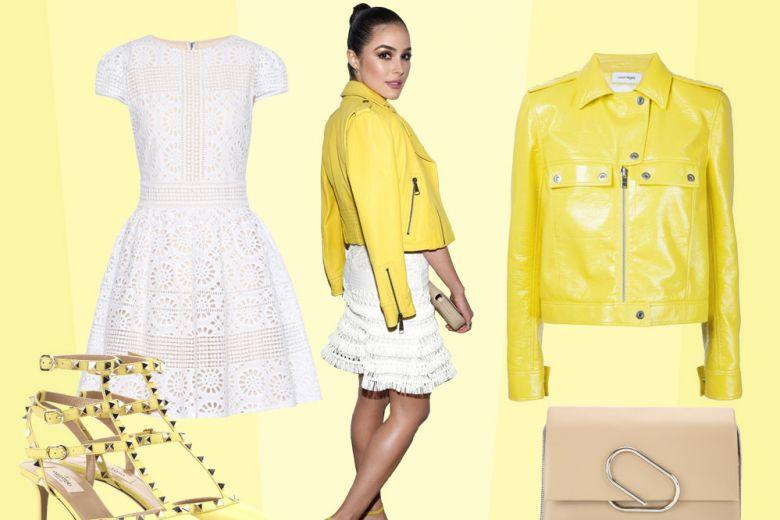 In bianco e giallo: il look estivo di Olivia