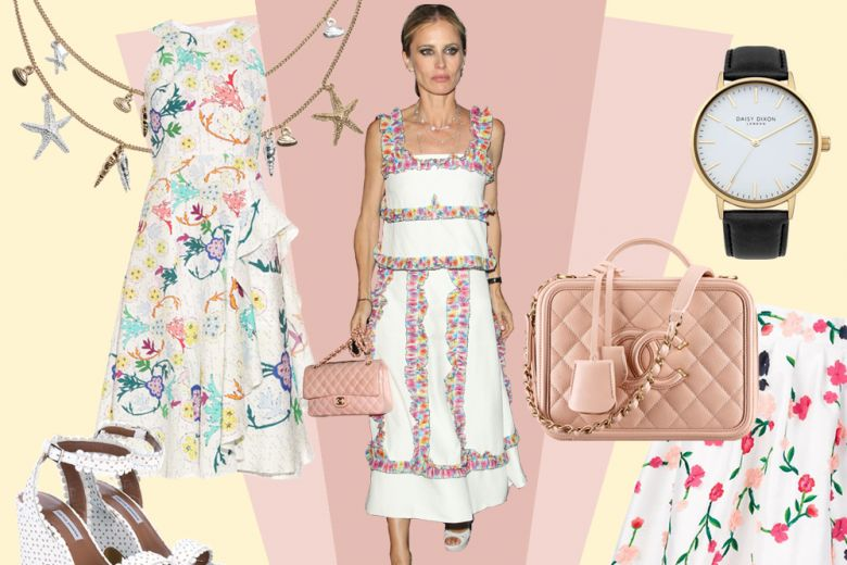 Laura Bailey in completo a fiori Chanel, il look da copiare