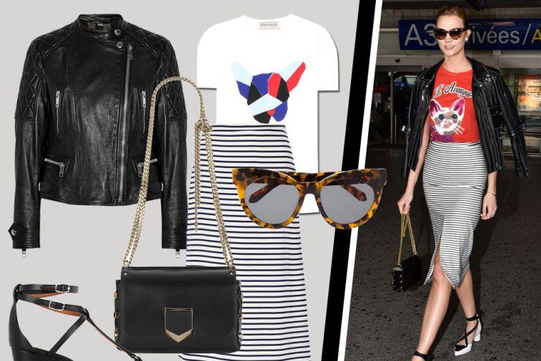T-shirt e gonna a righe: la mise di Karlie Kloss da copiare