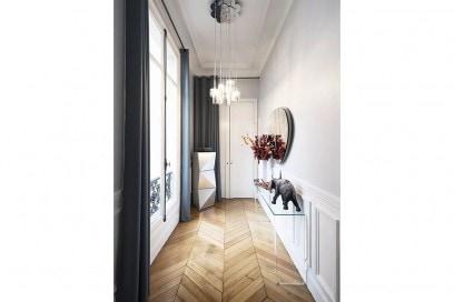 12.corridoio-idee-arredamento-pavimento-parquet-spinato-consolle-in-vetro-sospensione