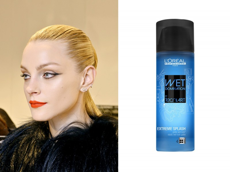 capelli-biondi-acconciature-Sleek-hair-loreal-professionnel-wet-domination-extreme-splash