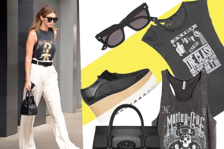 T-shirt rock come Gigi Hadid: get the look!
