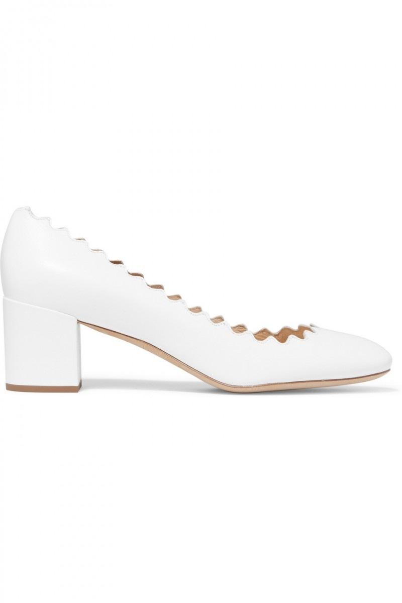 chloe scarpe bianche tacco midi