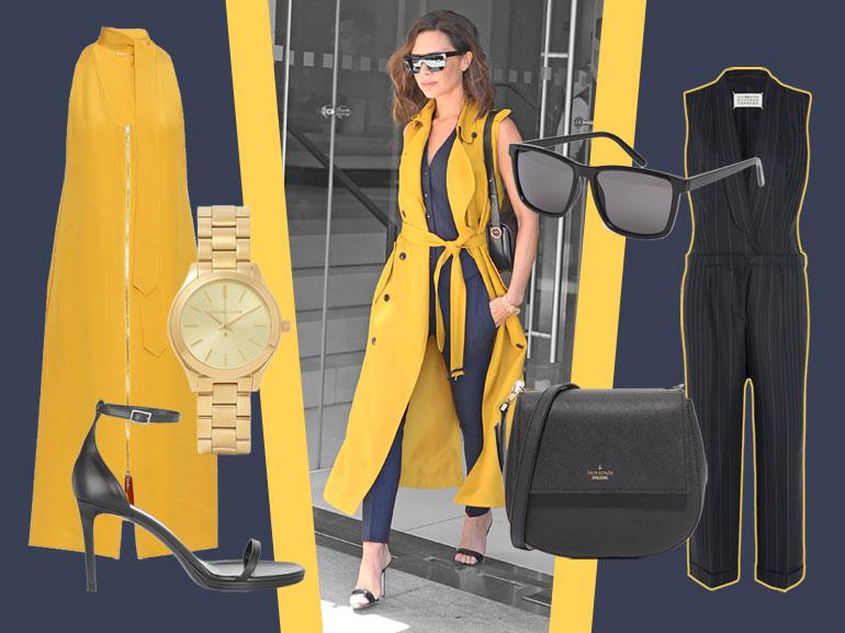 cover victoria beckham in gessato e giallo mobile