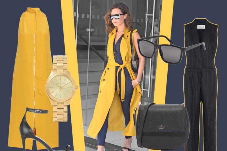Victoria Beckham e il look che abbina gessato e giallo senape
