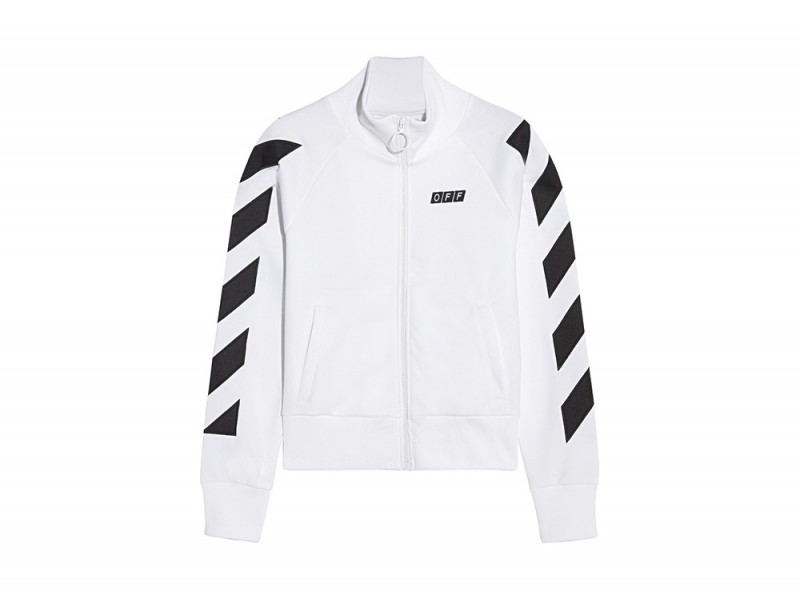 off white felpa bianca zip