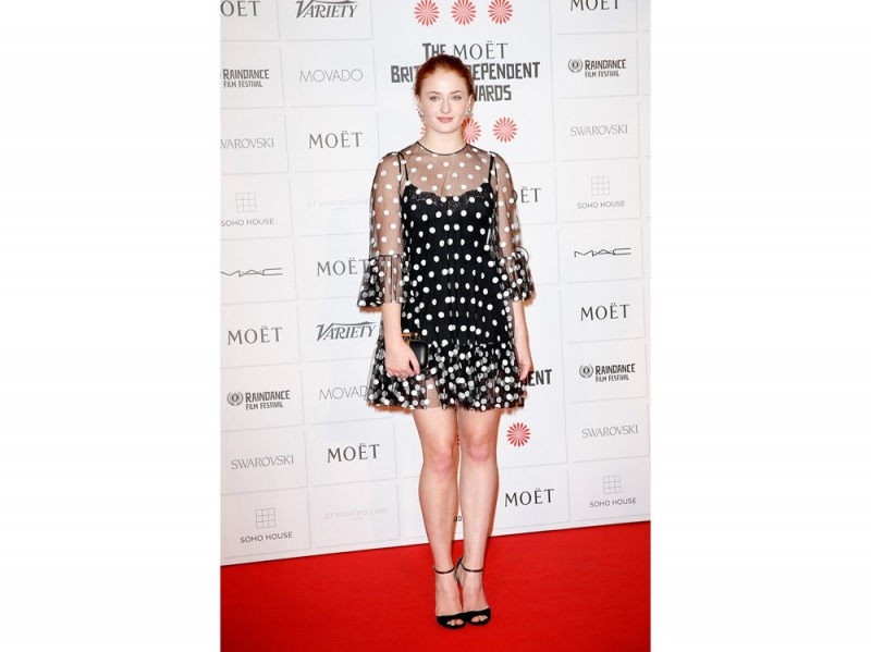 sophie turner abito a pois getty