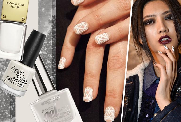 Unghie: nail art bianche off white per una manicure originale
