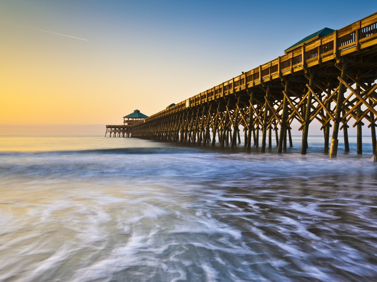 05Folly Beach Pier Charleston SC Coast Atlantic Ocean Pastel Sunrise vacation destination scenics
