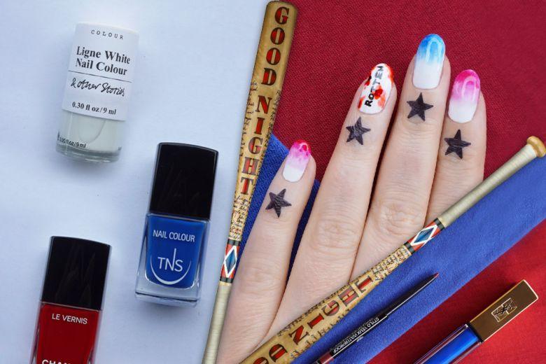 La nail art di Harley Quinn creata da Non solo Kawaii