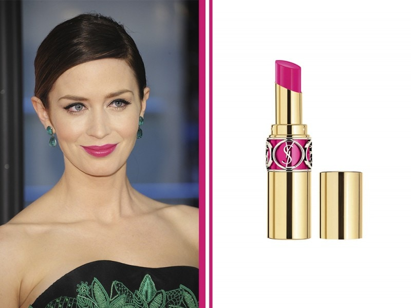 rossetto-fucsia-star-Emily-Blunt-Glossy-Fuchsia-ysl-rouge-volupte-shine-oil-in-stick-fuchsia-stiletto