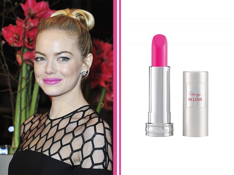 rossetto-fucsia-star-Emma-Stone-Cool-Light-Fuchsia-lancome-rouge-in-love-pink-bon-bon
