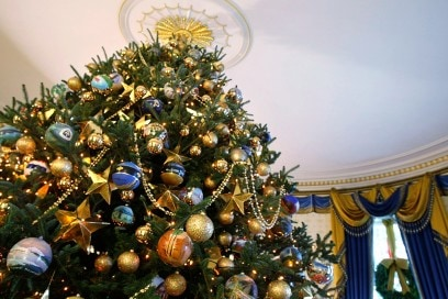 Laura Bush Shows Off White House Holiday Decorations