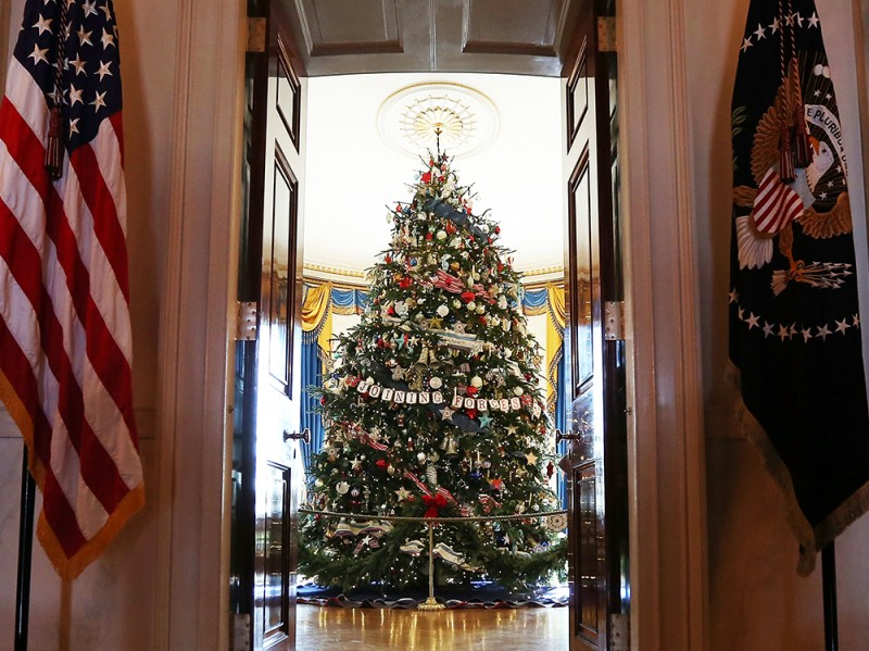 Michelle Obama Hosts Military Families At White House To View Holiday Decorations