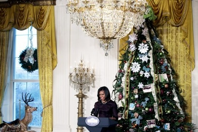 First Lady Michelle Obama Hosts Military Families For Viewing Of White House Holiday Decorations