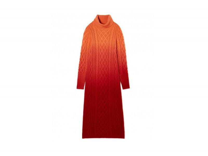 benetton-abito-lungo-arancio-rosso