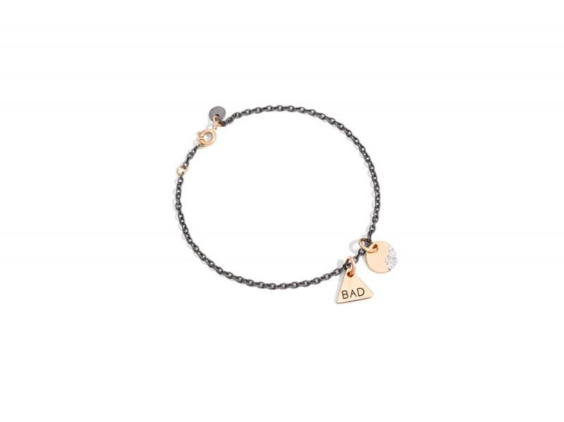dodo Braccialetto in titanio con chiusura in oro rosa,