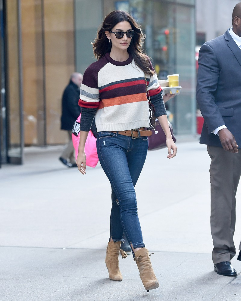Lily Aldridge seen wearing a striped sweater for the Victoria Secret fittings in New York City