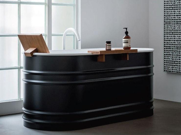 agape rivistazione in chiave contemporanea delle antiche vasche da bagno vieques realizzata in acciaio con finitura bianca allinterno e bianco o grigio
