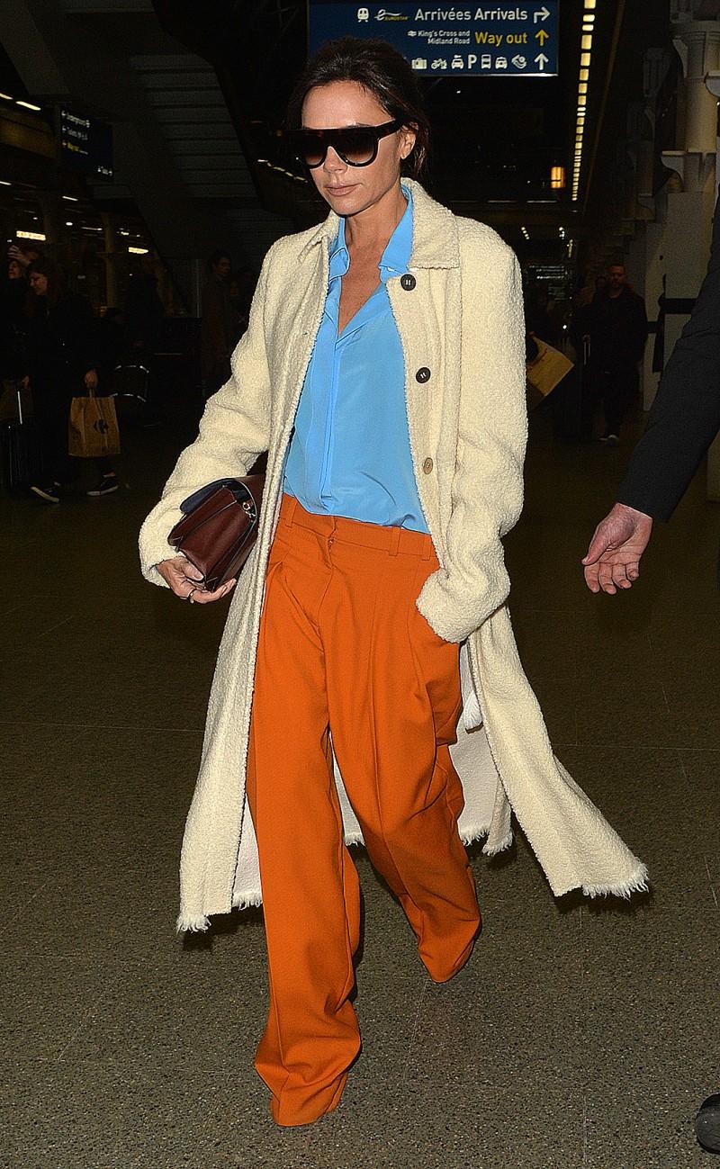 Victoria Beckham arriving at St Pancras Eurostar.