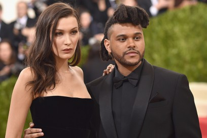 the weeknd bella hadid red carpet