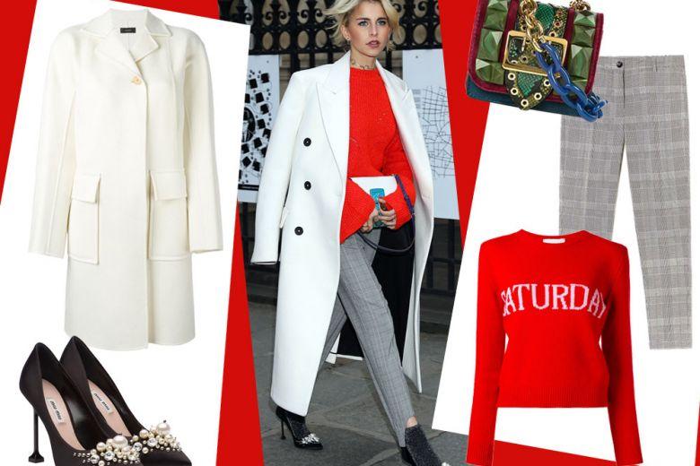 Caroline Daur: look chic con un tocco rosso