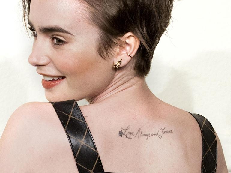 lily collins tatuaggio