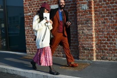 milano street style maxi maglia gonna pieghe
