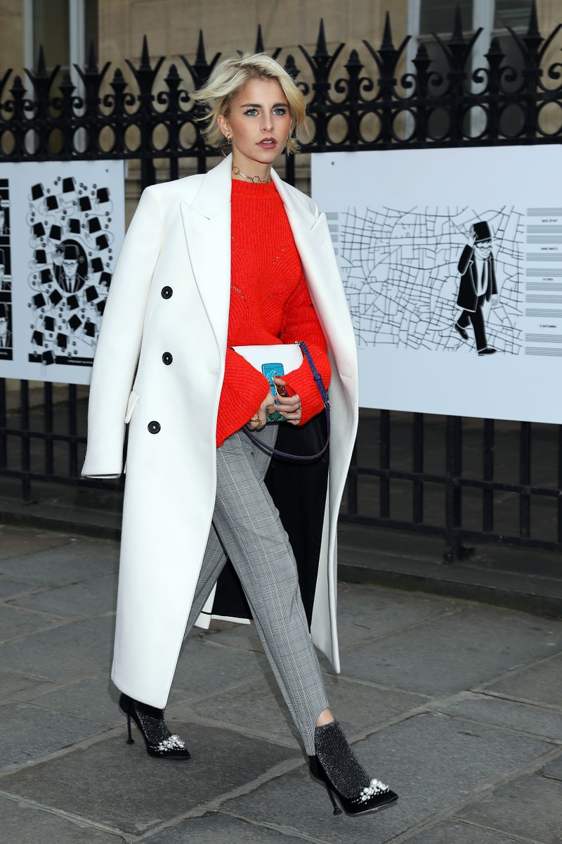 Caro Daur seen leaving Jean Paul Gaultier FW2017 show during Haute Couture in Paris