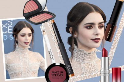 Lily Collins make up: copia il look con smokey eyes bordeaux