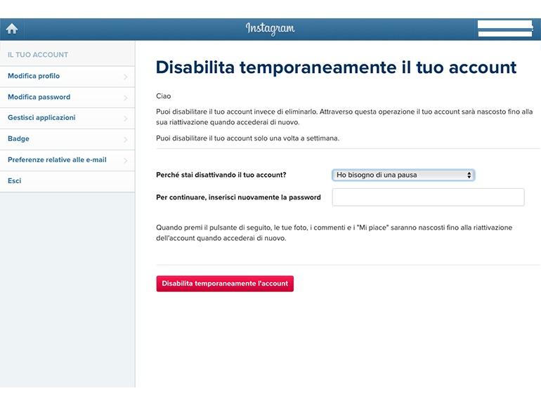 conferma disabilita account instagram