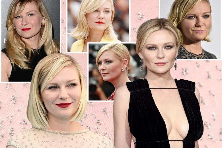 Kirsten Dunst beauty look: labbra rosse e sopracciglia in primo piano