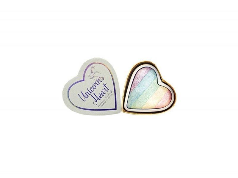 make up olografico illuminante arcobaleno a forma di cuore make up revolution