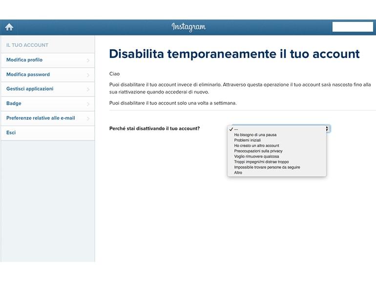 perche disabilitare account instagram