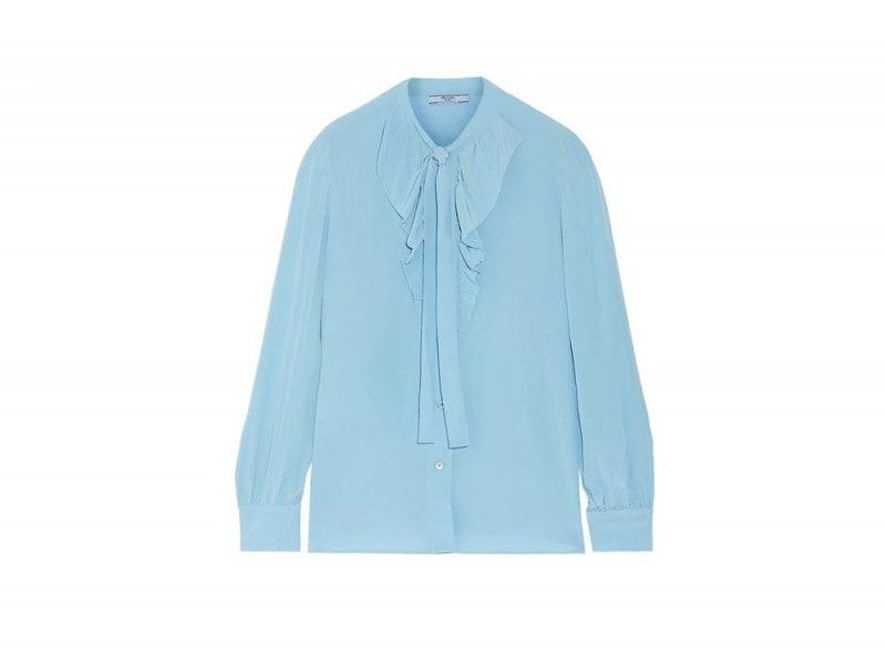 Camicia PRADA Camicia azzurro pastello con fiocco e ruches.