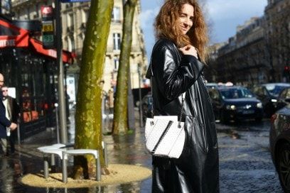 street style parigi 17 giacca lunga pelle