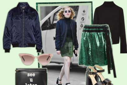 Bomber e gonna di paillettes: il look da copiare di Kiernan Shipka