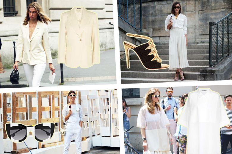 Outfit total white: 4 look rubati allo street style