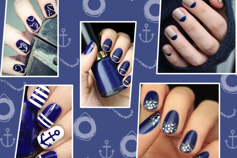 Nail art blu: le unghie navy per la primavera