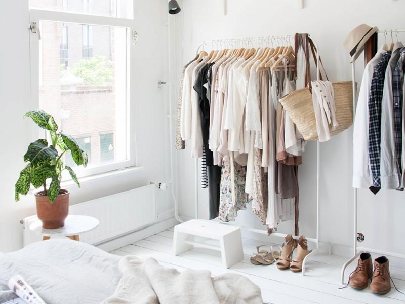 clothing rack in bedroom Dark Hardwood  Throws Lamp Bases