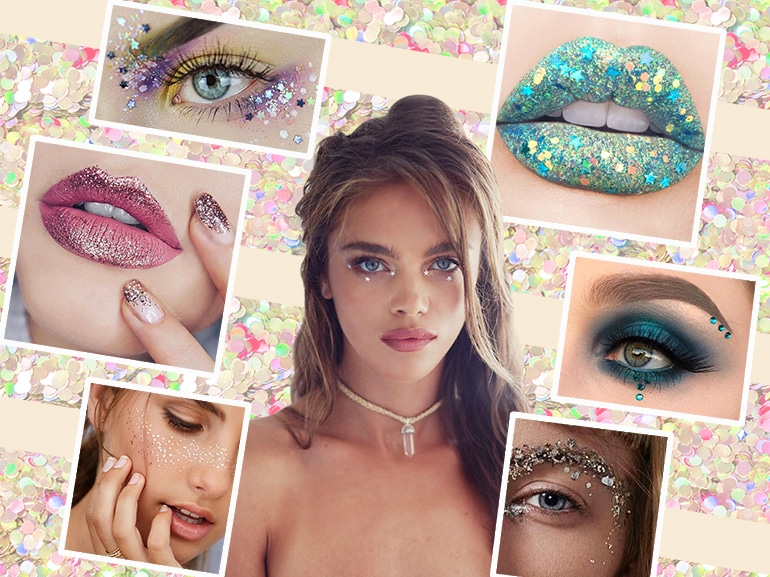 trucco glitter make up festival look collage_mobile