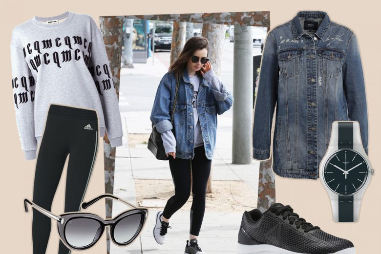 Leggings, felpa e sneakers: il look casual di Lily Collins