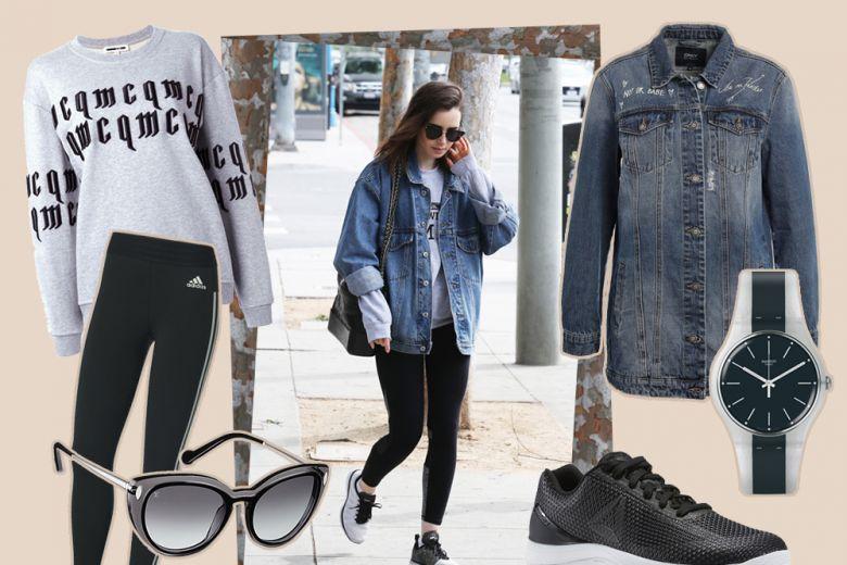 Leggings, felpa e sneakers: il look casual di Lily Collins