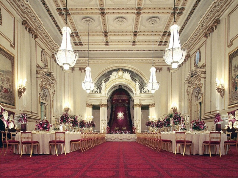 The Ballroom of Buckingham Palace set up