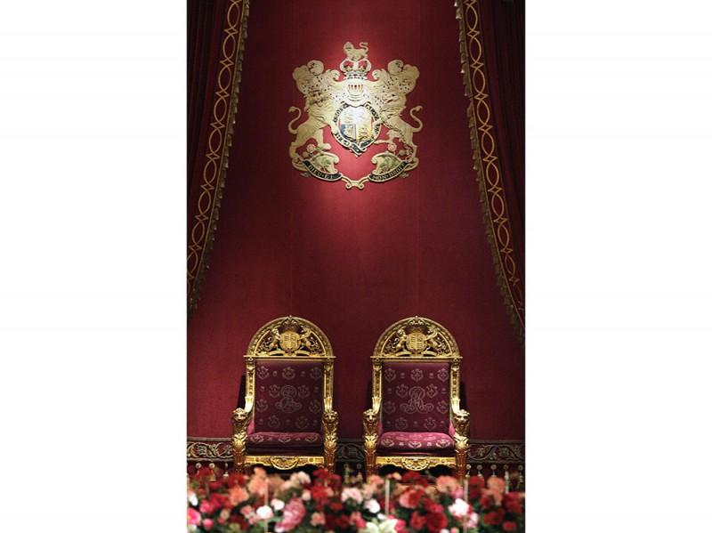 The Ballroom of Buckingham Palace set up