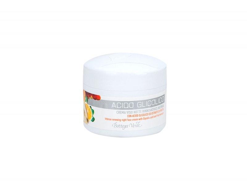 bottega verde crema idratante notte rigenerante acido glicolico prodotti viso pelle levigata purificata perfetta giovane