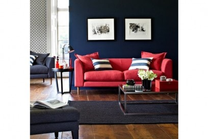 Blu e corallo sofa