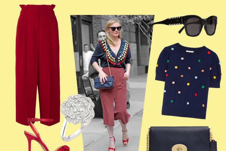 Kirsten Dunst: look chic con culotte pants e cardigan ricamato