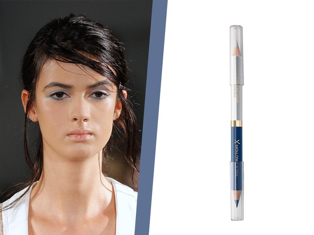 trucco eyeliner argento e blu